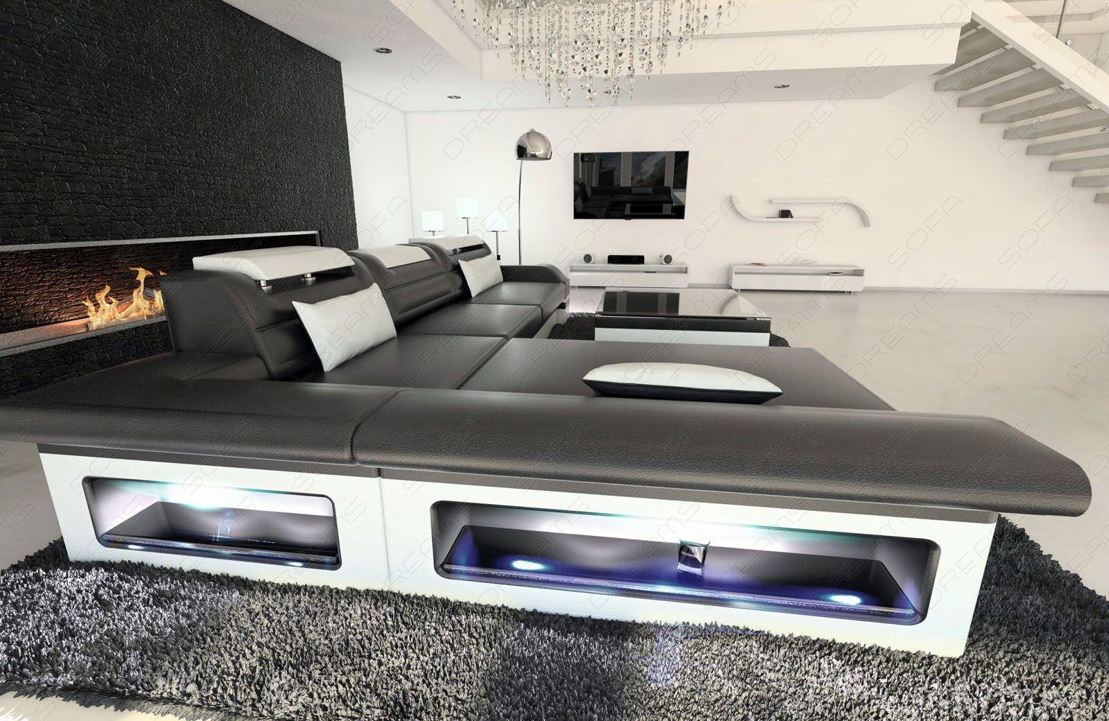 Moderne ledercouch schwarz  Ledercouch Monza als L Form in schwarz-weiss online kaufen