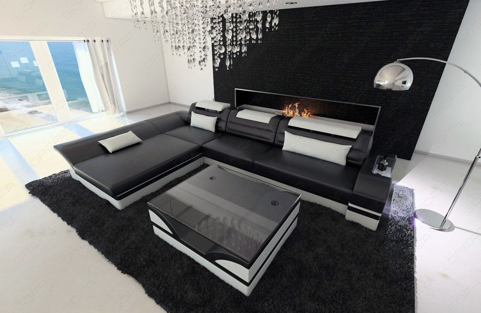 Ledersofa modern weiß  Ledercouch Monza als L Form in schwarz-weiss online kaufen