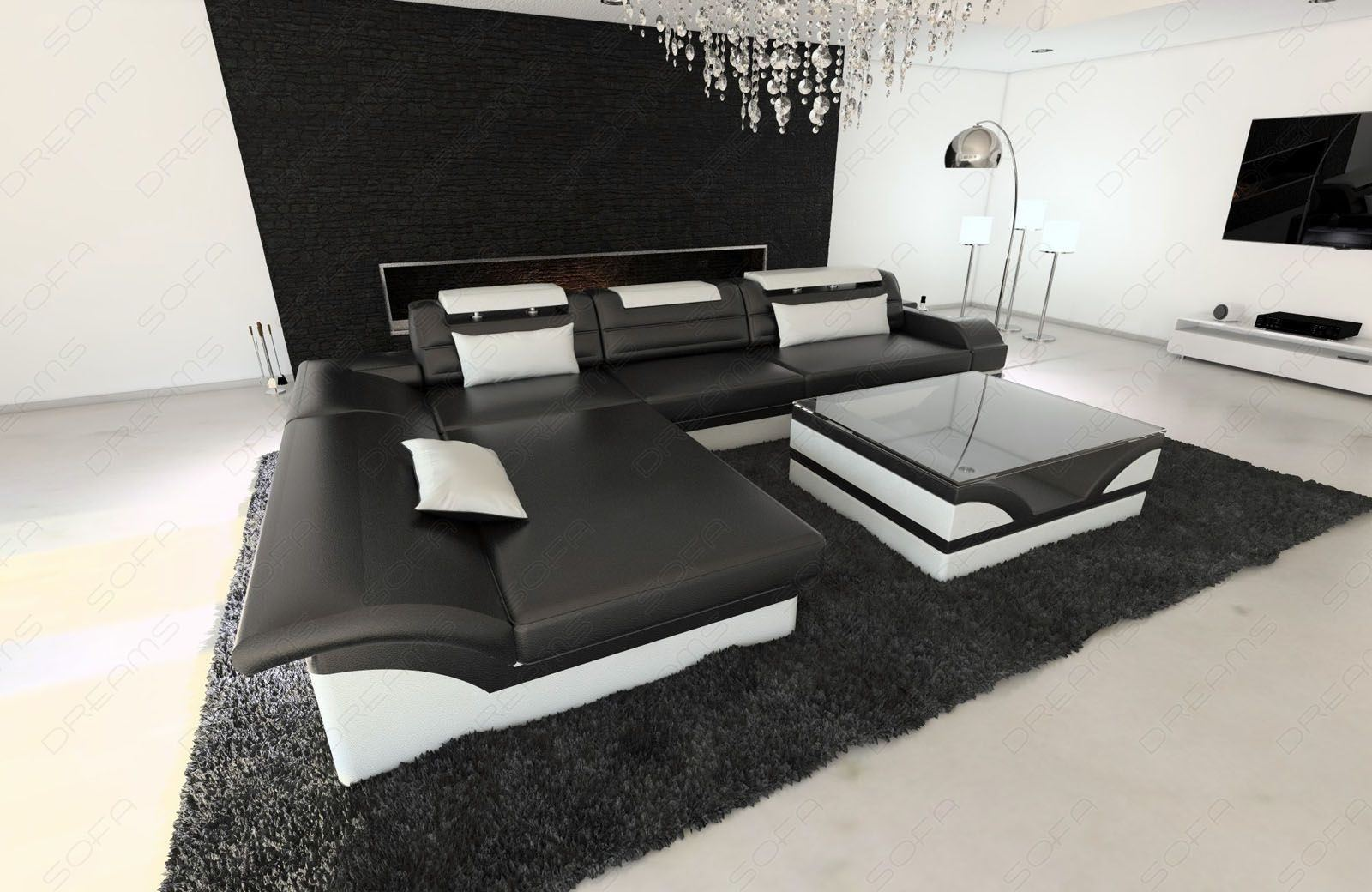 ledercouch monza als l form in schwarz weiss online kaufen. Black Bedroom Furniture Sets. Home Design Ideas