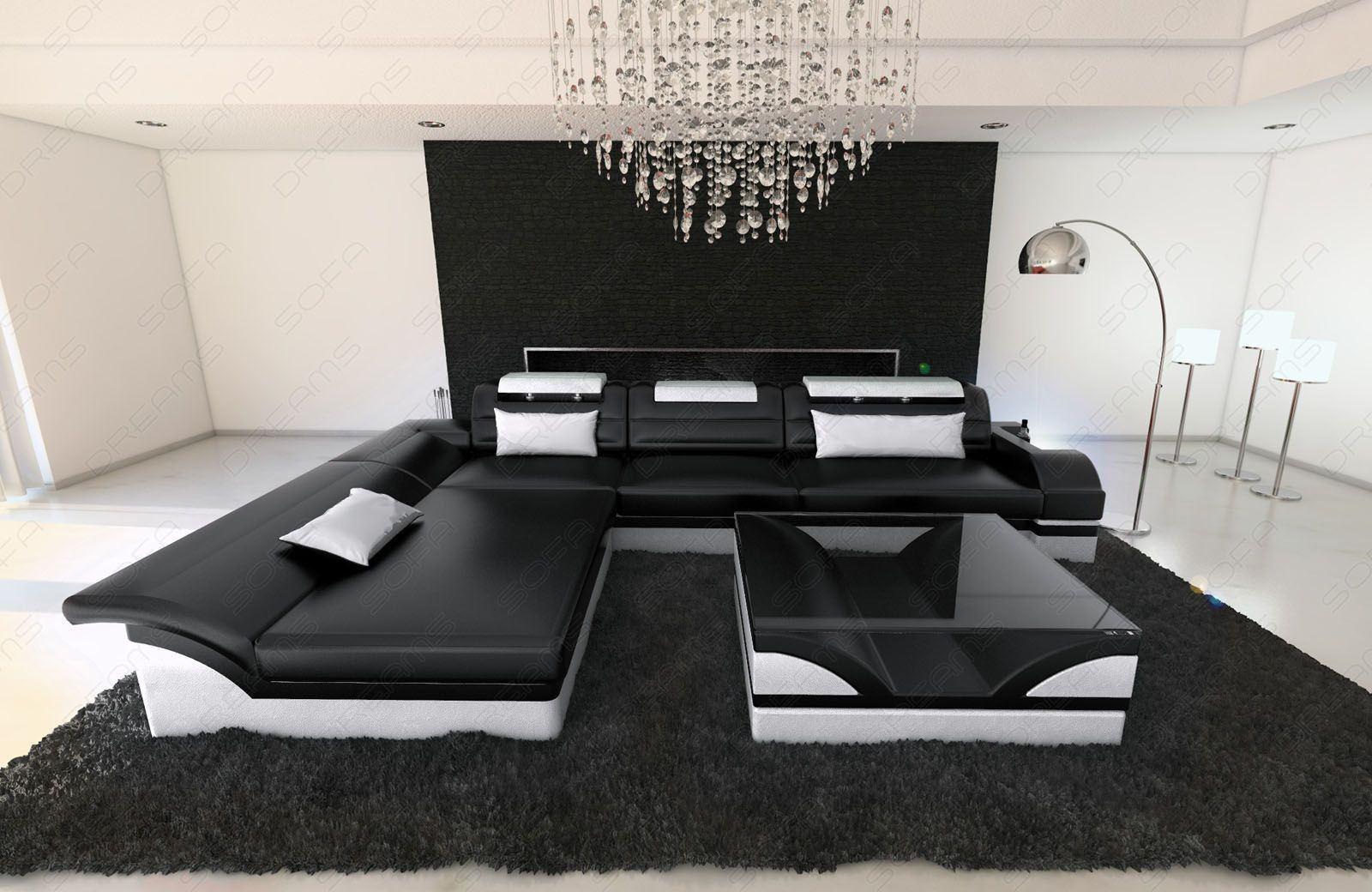 ledercouch monza als l form in schwarz weiss online kaufen. Black Bedroom Furniture Sets. Home Design Ideas