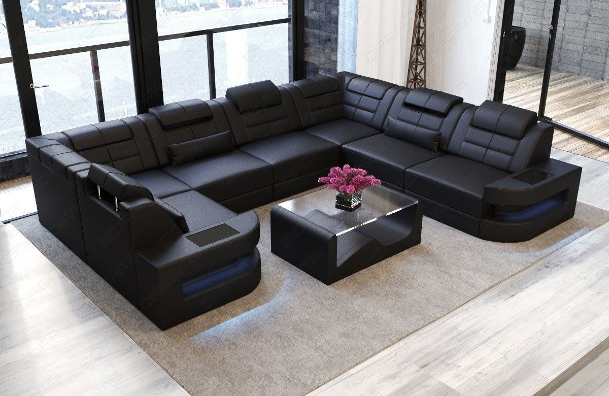 sofa wohnlandschaft como u form in leder komplett schwarz. Black Bedroom Furniture Sets. Home Design Ideas