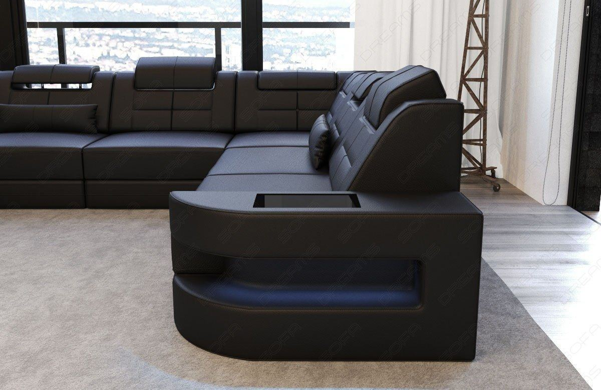 sofa wohnlandschaft como u form in leder komplett schwarz. Black Bedroom Furniture Sets. Home Design Ideas