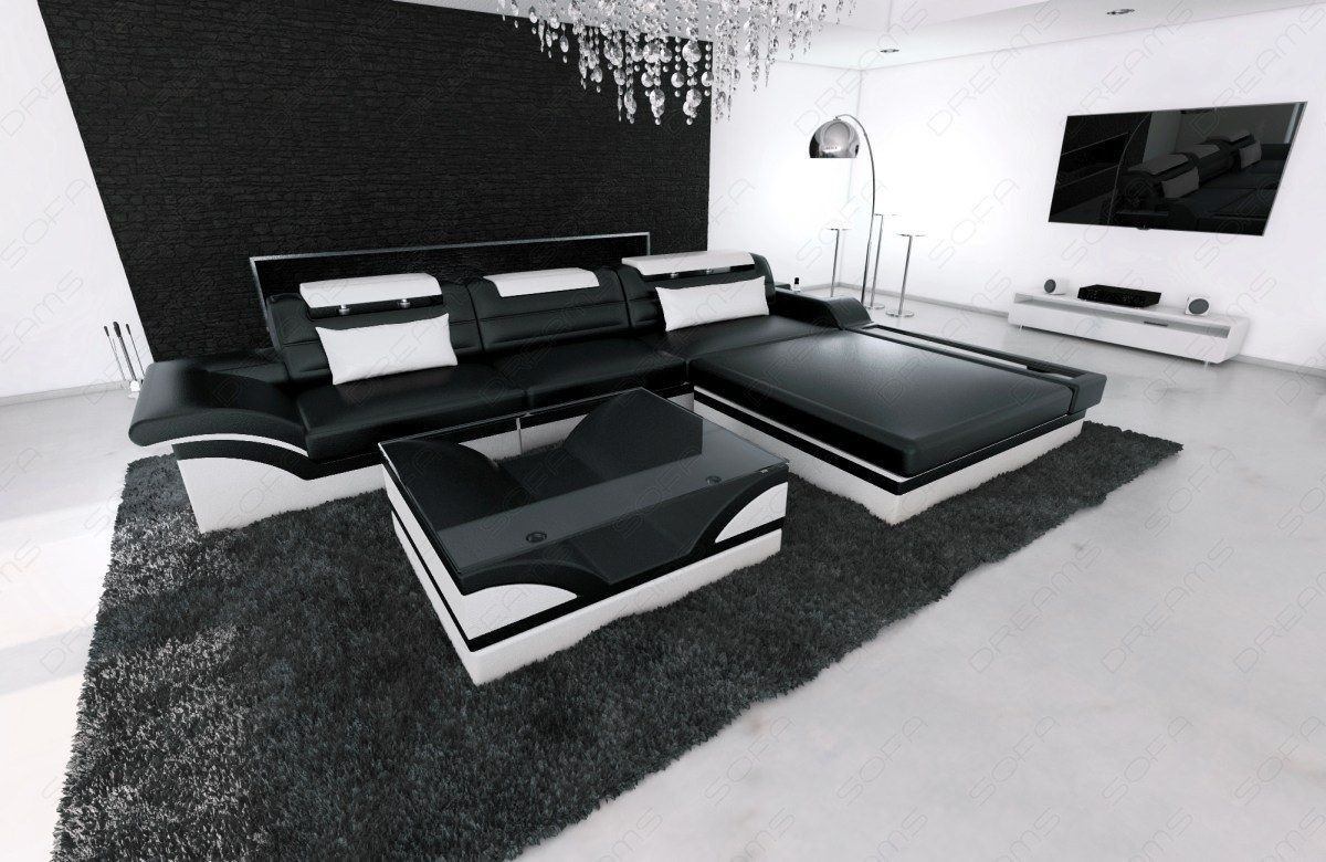 ledercouch parma als l form in schwarz weiss online kaufen. Black Bedroom Furniture Sets. Home Design Ideas