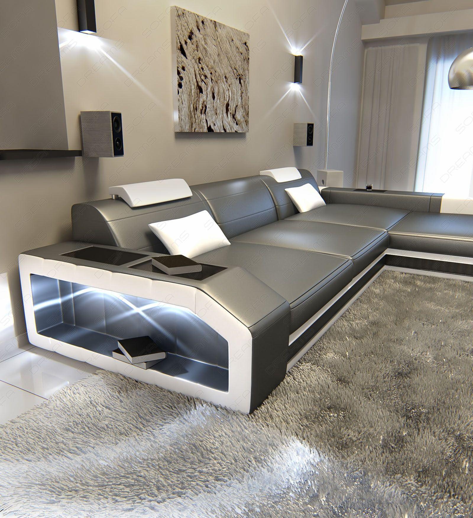 ledersofa prato l form in den farben grau weiss online kaufen. Black Bedroom Furniture Sets. Home Design Ideas