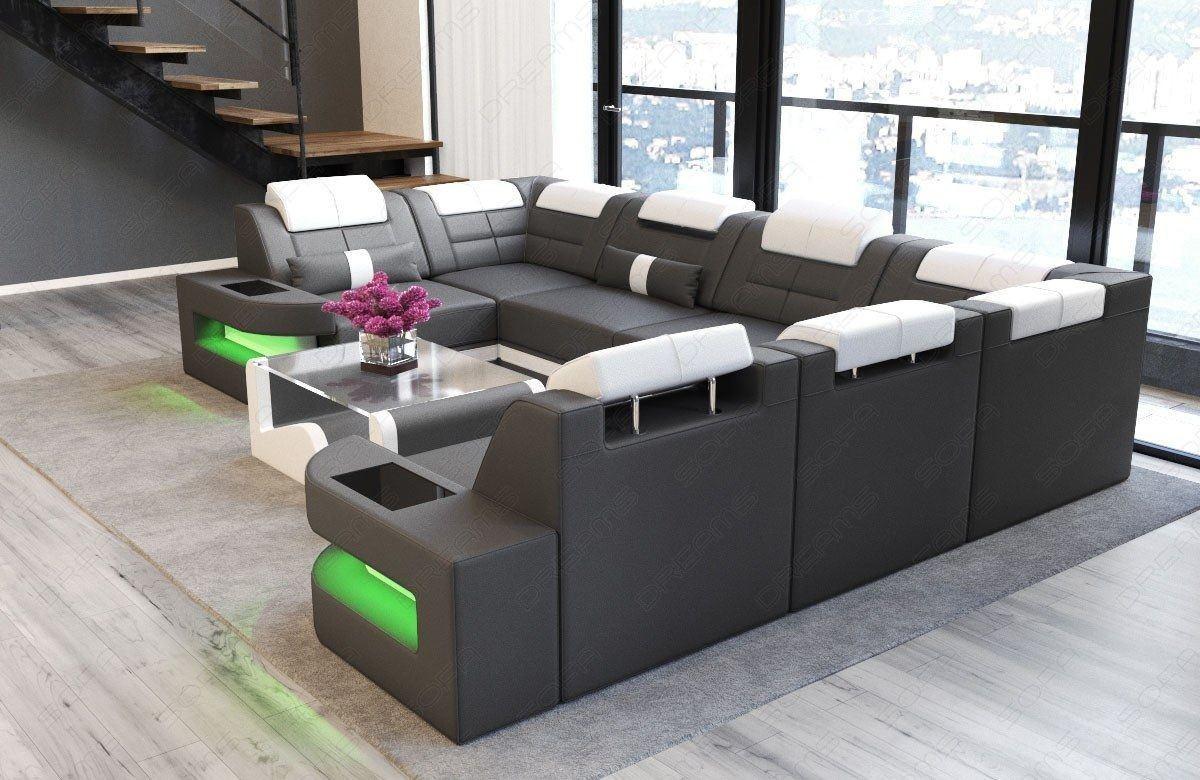 sofa wohnlandschaft como u form in leder grau und weiss. Black Bedroom Furniture Sets. Home Design Ideas