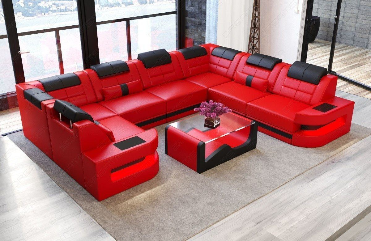 Sofa wohnlandschaft como u form in leder rot und schwarz for Wohnlandschaft in u form