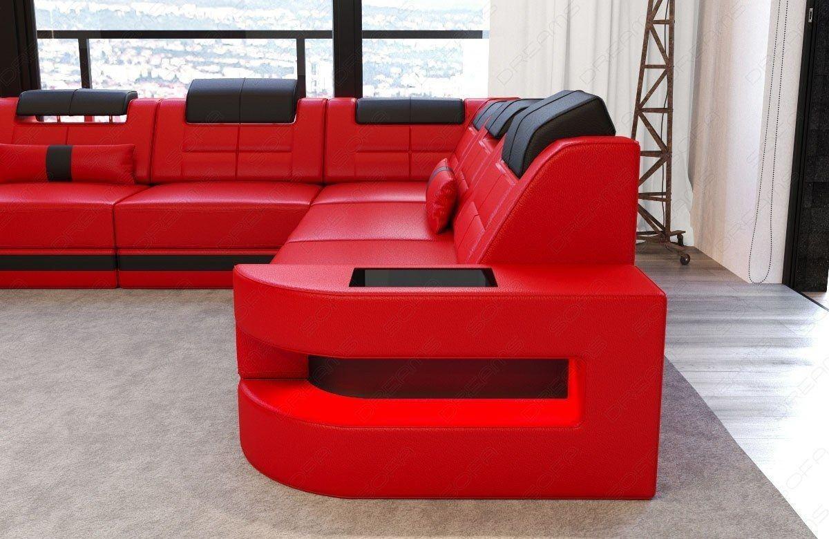 sofa wohnlandschaft como u form in leder rot und schwarz. Black Bedroom Furniture Sets. Home Design Ideas