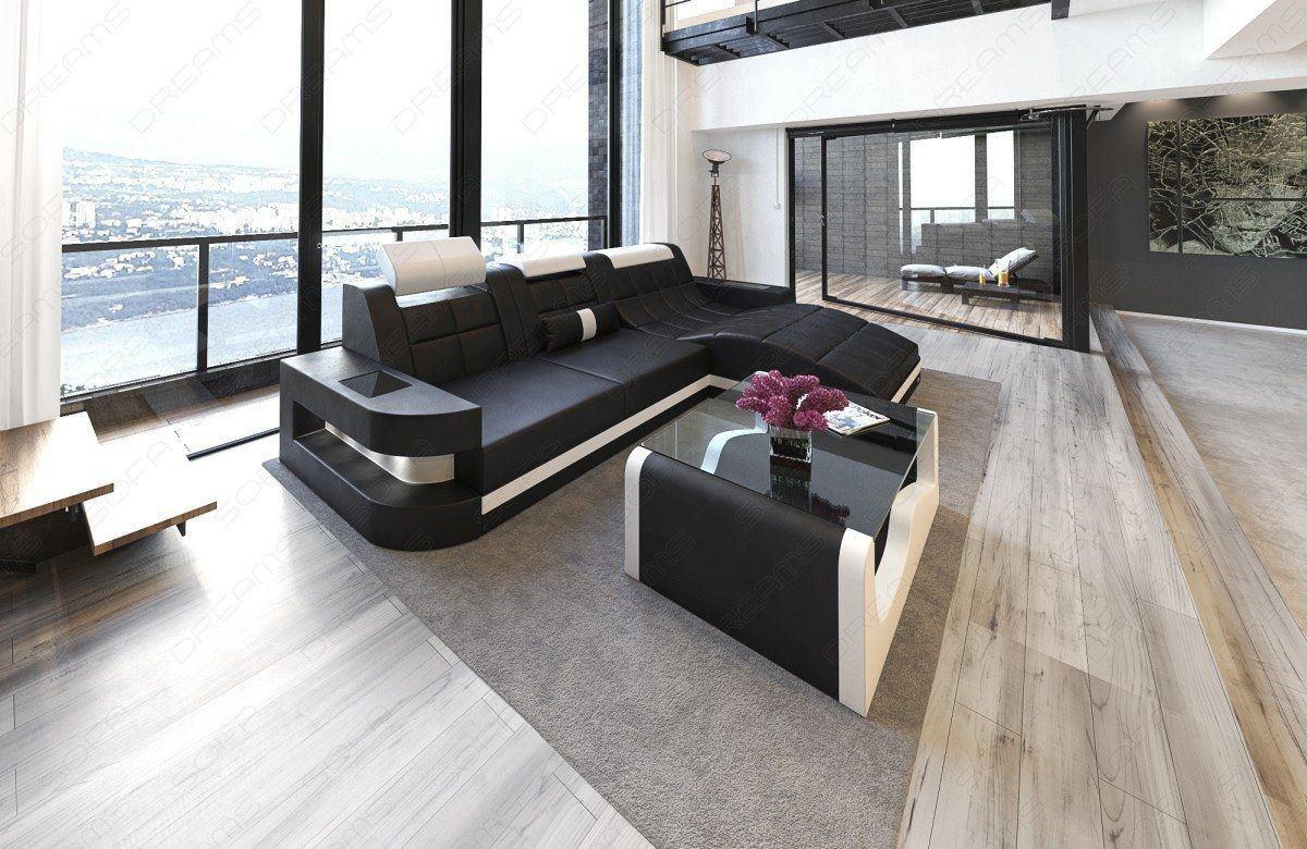 ledersofa wave in der l form mit beleuchtung farbe schwarz weiss. Black Bedroom Furniture Sets. Home Design Ideas