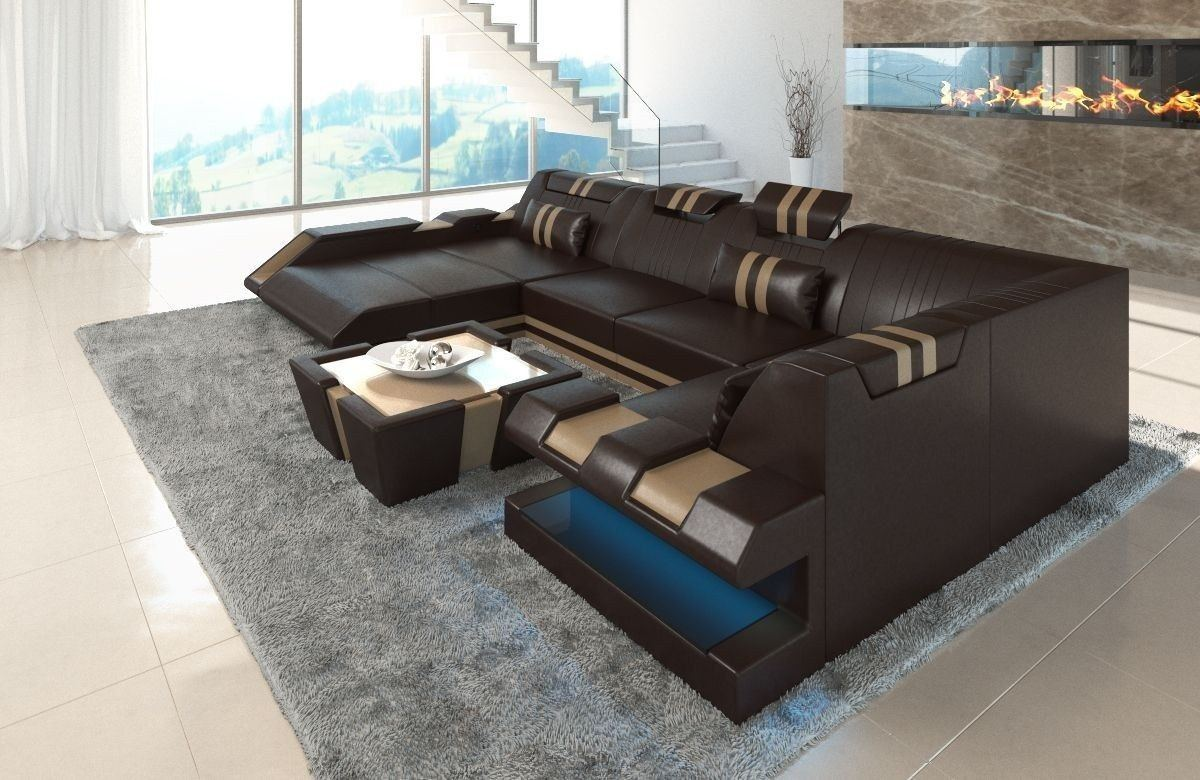 Sofa Wohnlandschaft Apollonia Als U Form In Braun Und Beige