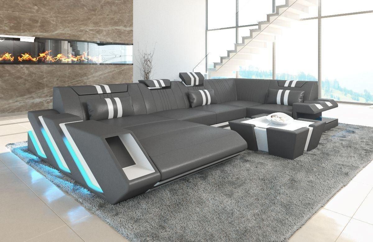 Sofa Wohnlandschaft Apollonia Als U Form In Grau Und Weiss