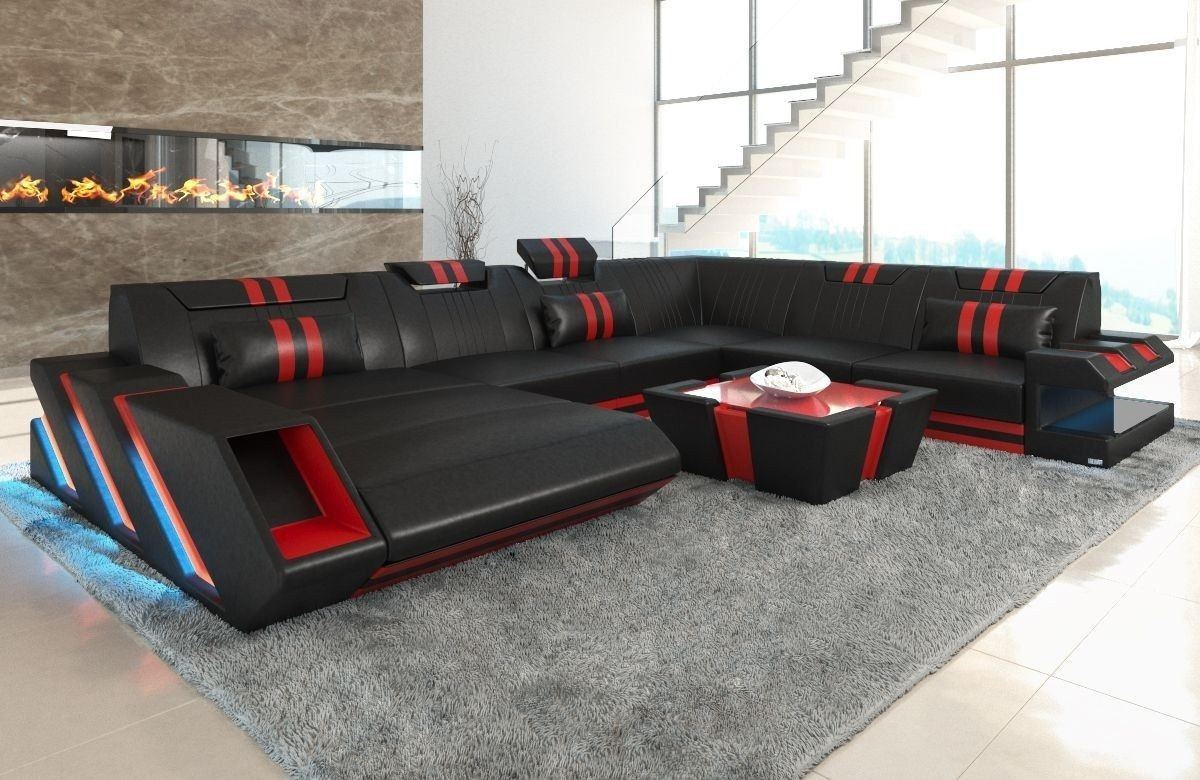 xxl leder wohnlandschaft apollonia in schwarz und rot. Black Bedroom Furniture Sets. Home Design Ideas
