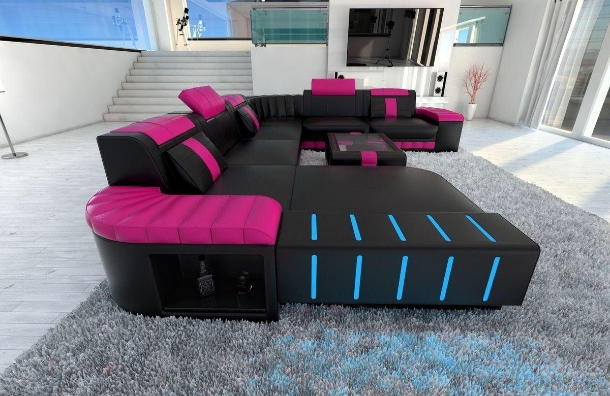xxl wohnlandschaft bellagio in leder in den farben schwarz pink. Black Bedroom Furniture Sets. Home Design Ideas
