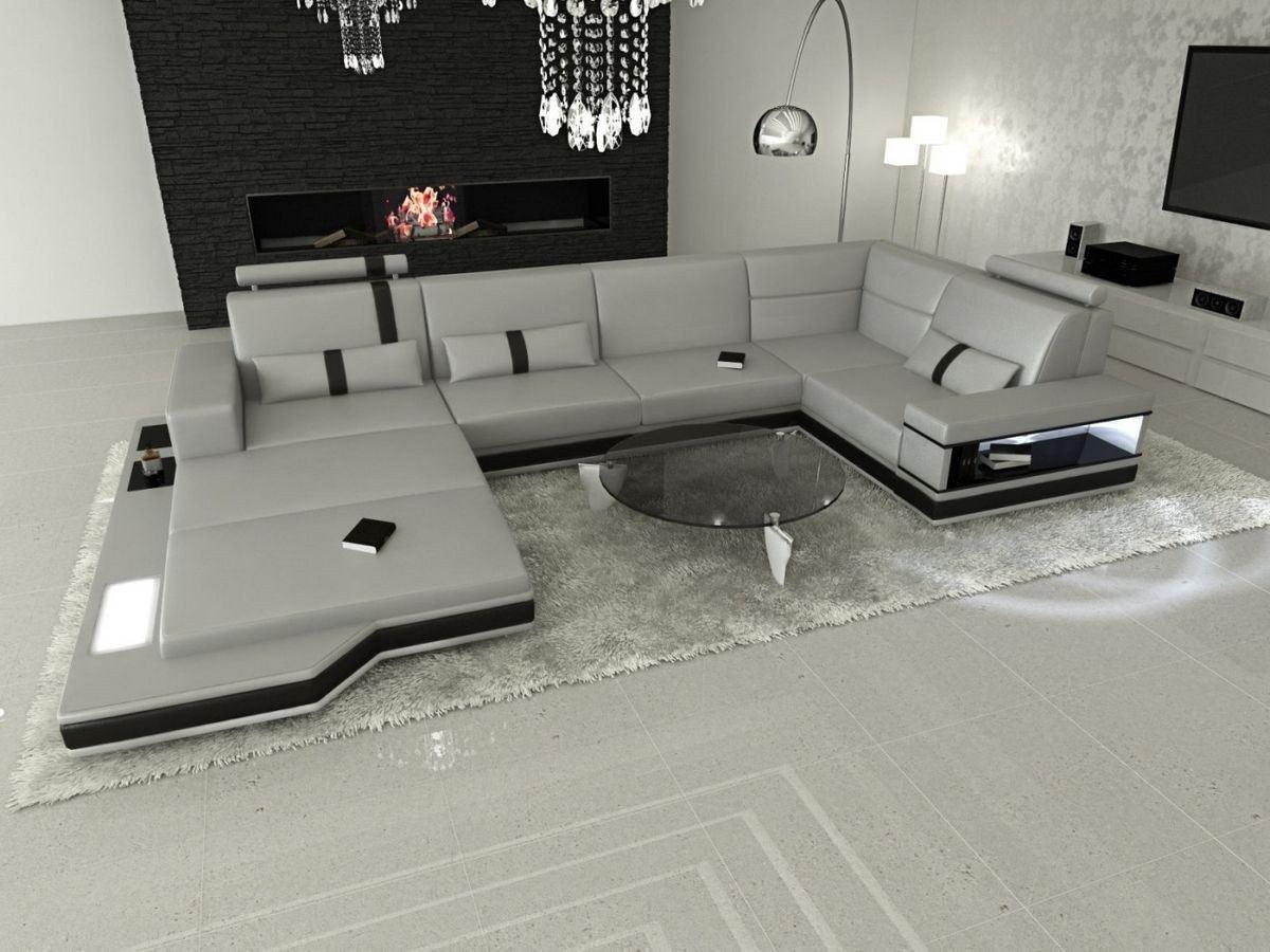 wohnlandschaft messana in leder als u form grau und schwarz. Black Bedroom Furniture Sets. Home Design Ideas