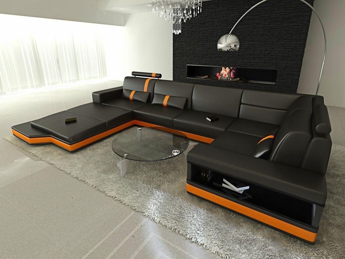 Wohnlandschaft Messana In Leder Als U Form Schwarz Und Orange