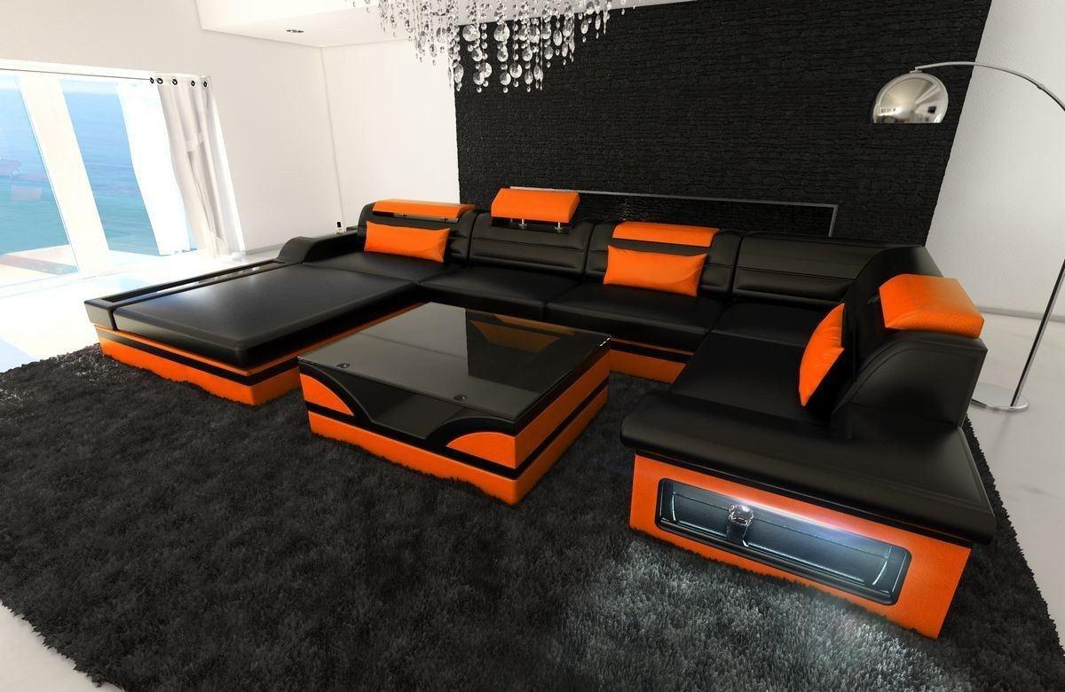 leder wohnlandschaft mezzo u form schwarz orange. Black Bedroom Furniture Sets. Home Design Ideas