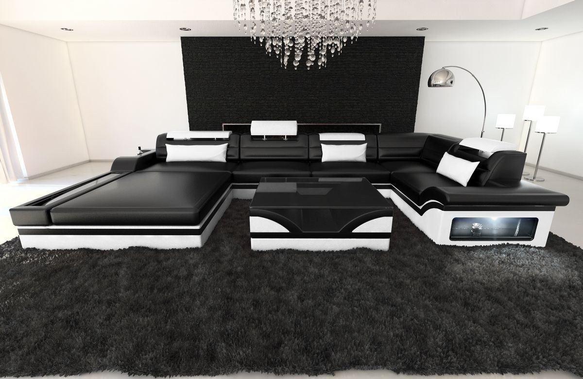 leder wohnlandschaft mezzo u form schwarz weiss. Black Bedroom Furniture Sets. Home Design Ideas
