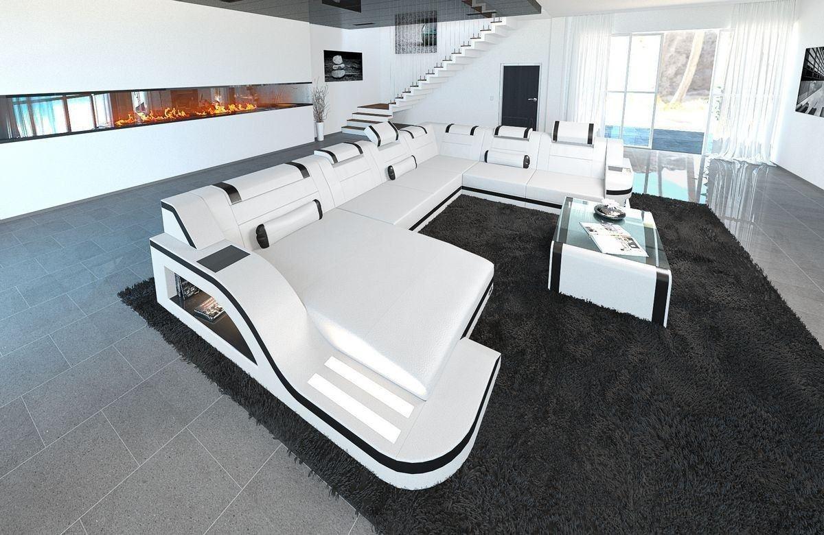 xxl wohnlandschaft palermo xxl in leder mit farben weiss schwarz. Black Bedroom Furniture Sets. Home Design Ideas