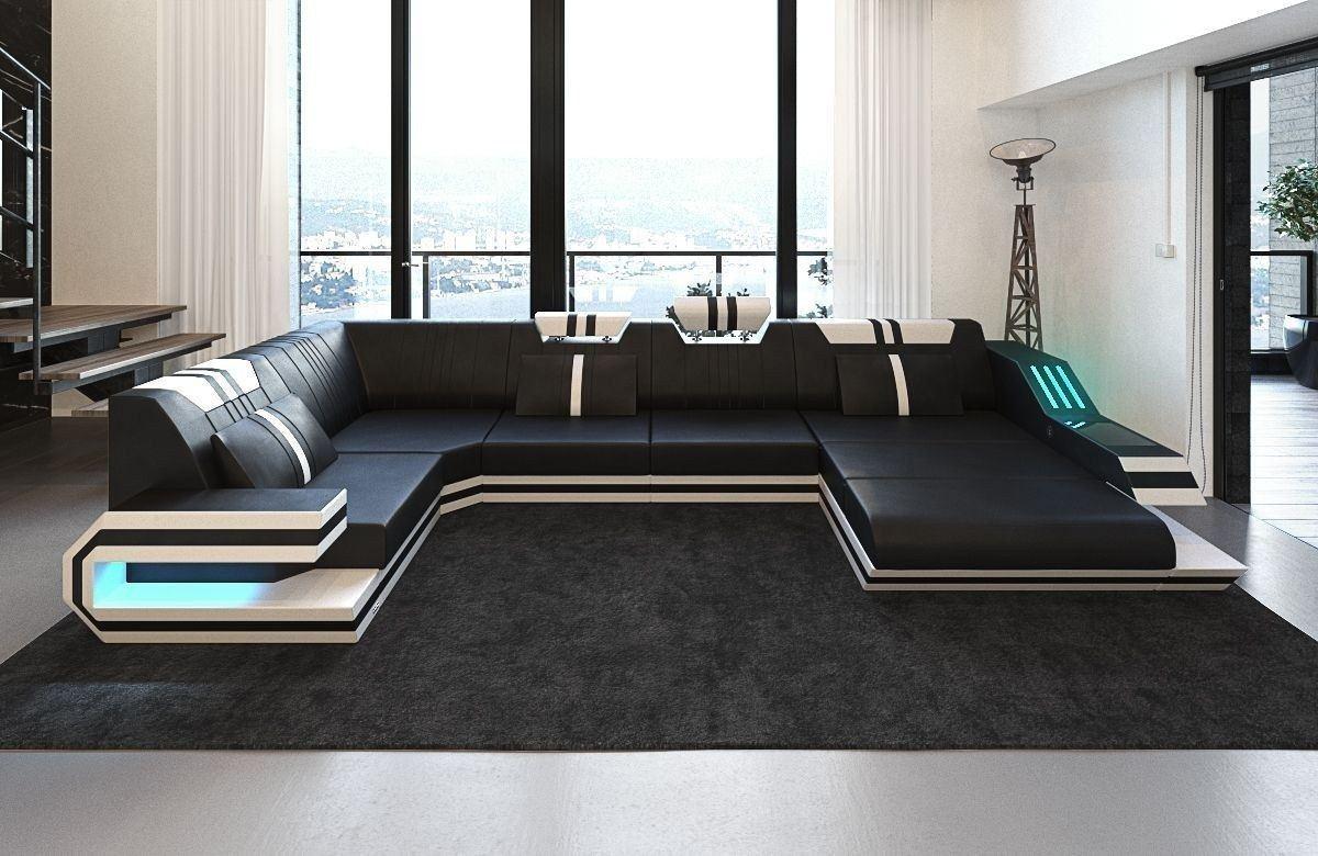 leder wohnlandschaft ravenna als u form mit farben schwarz weiss. Black Bedroom Furniture Sets. Home Design Ideas