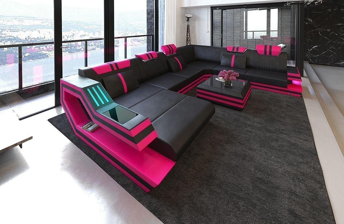 xxl wohnlandschaft ravenna in leder und den farben schwarz pink. Black Bedroom Furniture Sets. Home Design Ideas
