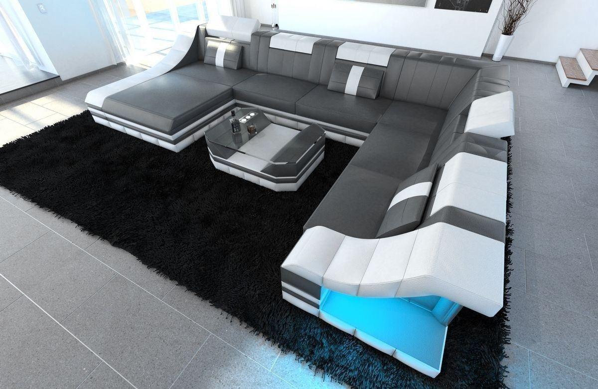 xxl wohnlandschaft turino in echleder kunstleder mix grau weiss. Black Bedroom Furniture Sets. Home Design Ideas