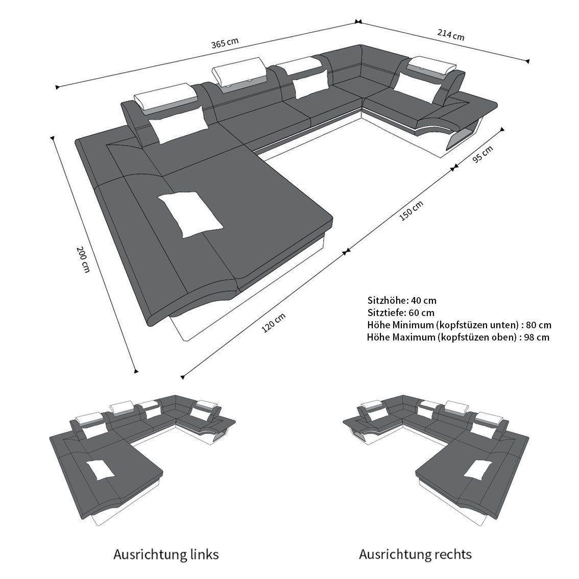 Design Wohnlandschaft Enzo U Form In Leder Mit Led Beleuchtung
