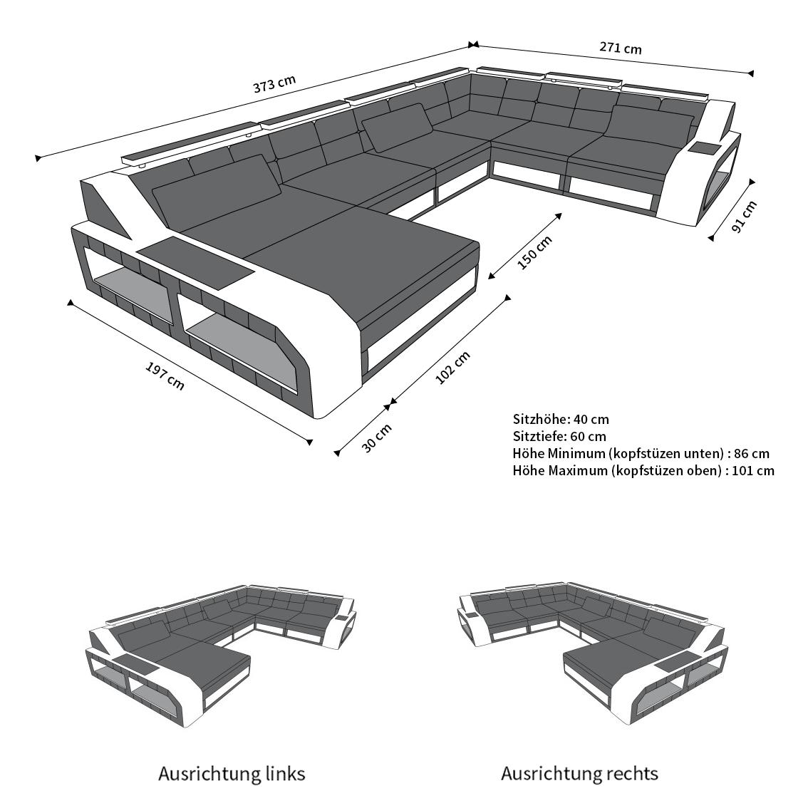 Design Wohnlandschaft Matera In Stoff Als Xxl Sofa Mit Ottomane