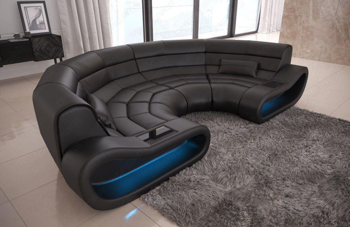 Big Sofa Concept in Leder mit Ottomane und LED Beleuchtung