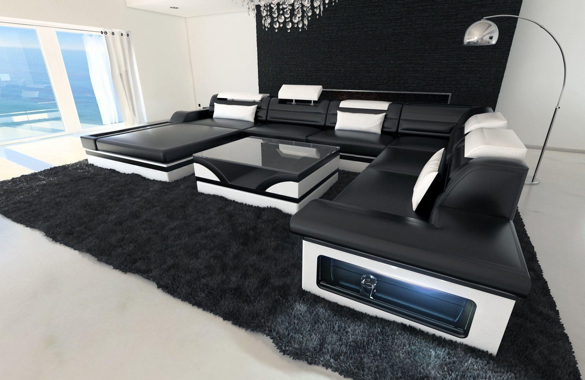 moderne wohnlandschaft mezzo in xxl in den farben schwarz weiss. Black Bedroom Furniture Sets. Home Design Ideas