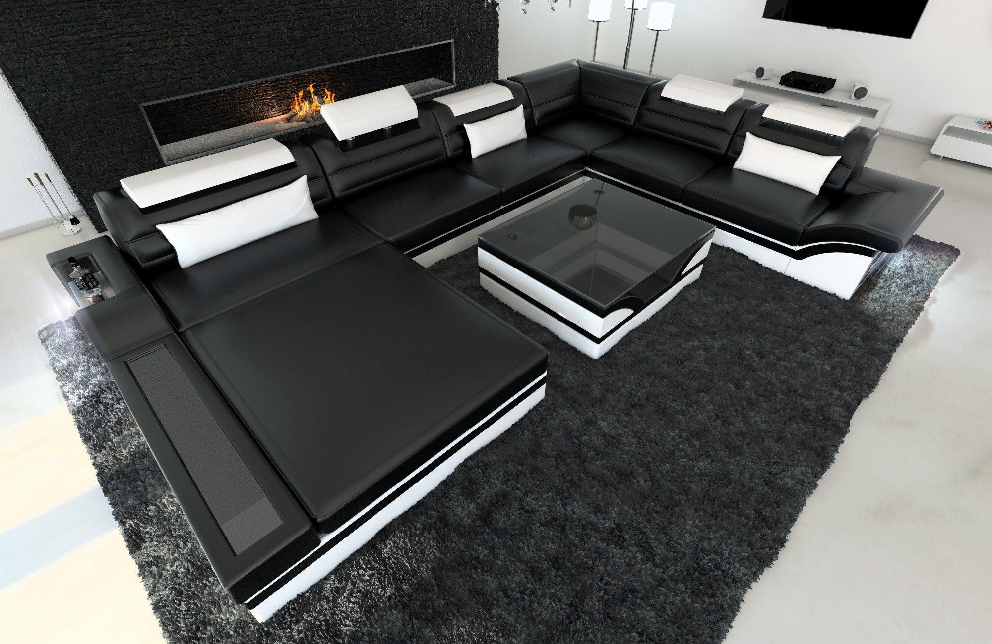 moderne wohnlandschaft mezzo in xxl in den farben schwarz weiss. Black Bedroom Furniture Sets. Home Design Ideas
