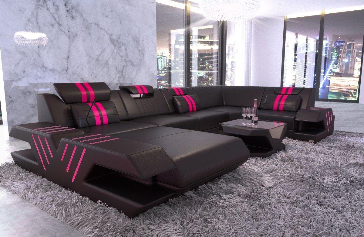 leder wohnlandschaft venedig u form schwarz pink. Black Bedroom Furniture Sets. Home Design Ideas