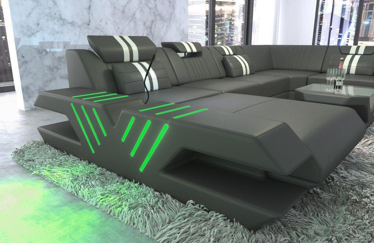 leder wohnlandschaft venedig u form grau weiss. Black Bedroom Furniture Sets. Home Design Ideas