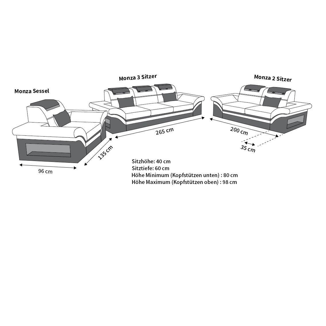 couchgarnitur monza 3 2 1 in leder mit eingebauter led beleuchtung. Black Bedroom Furniture Sets. Home Design Ideas