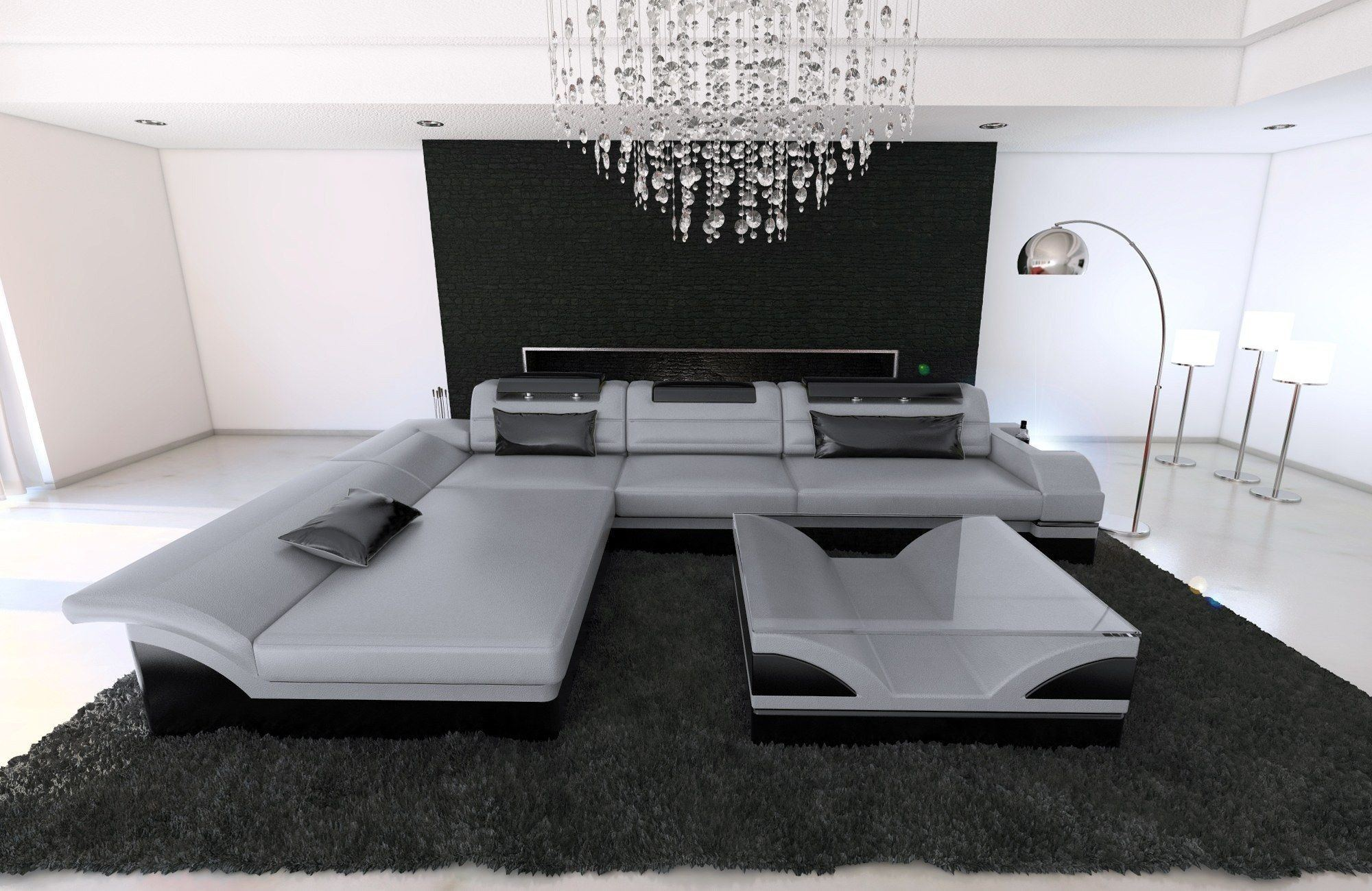ledersofa monza l form grau schwarz. Black Bedroom Furniture Sets. Home Design Ideas