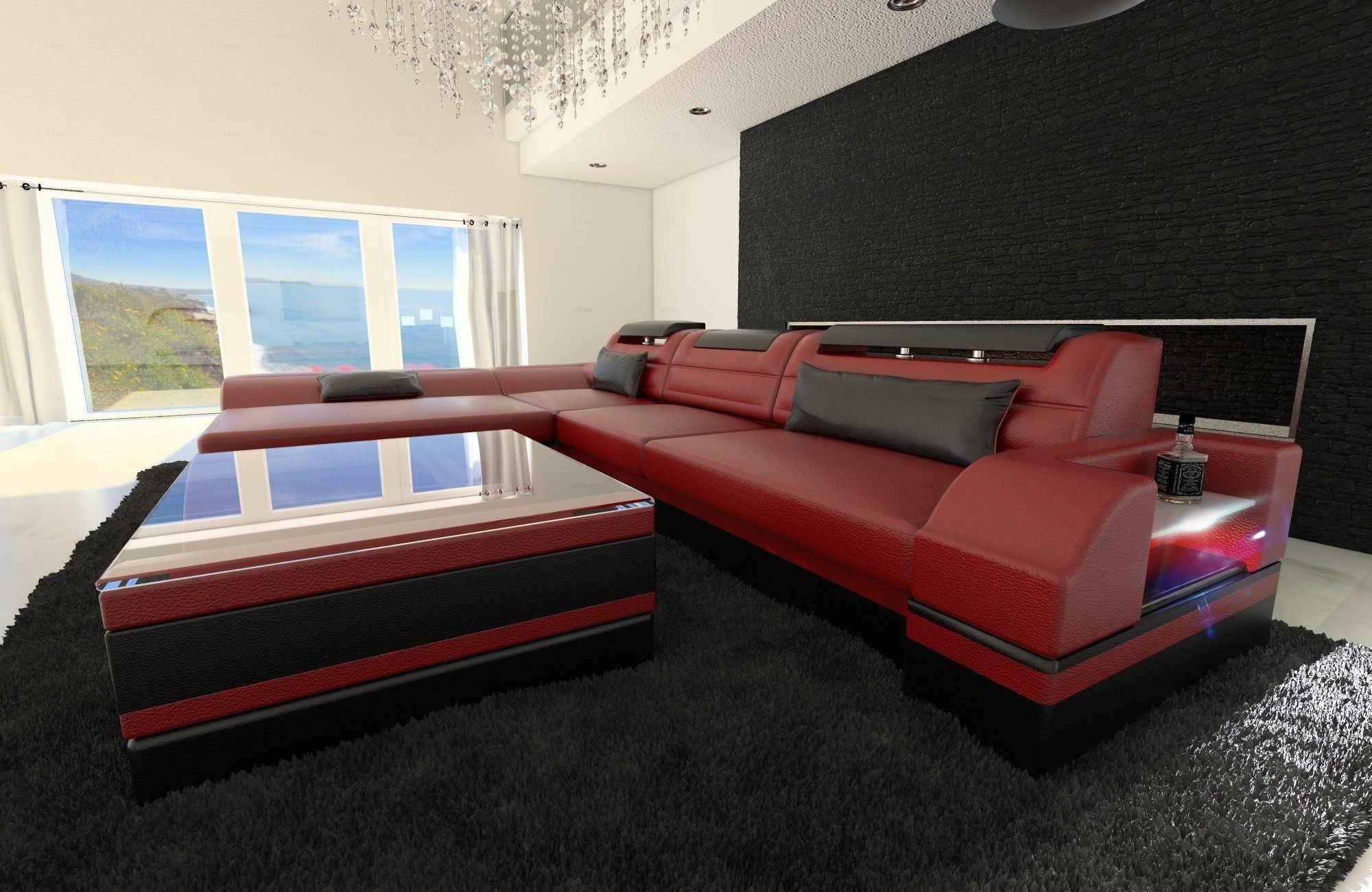 ledersofa monza l form rot schwarz. Black Bedroom Furniture Sets. Home Design Ideas