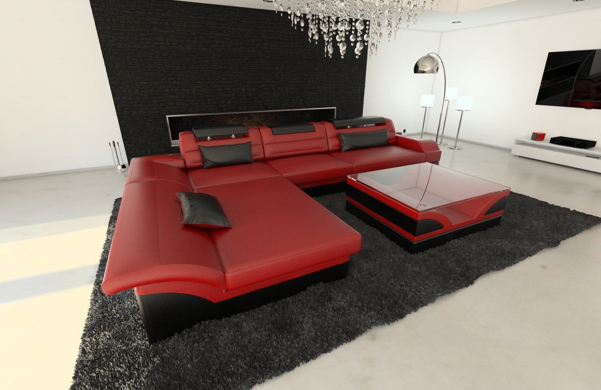 ledersofa monza l form rot schwarz. Black Bedroom Furniture Sets. Home Design Ideas