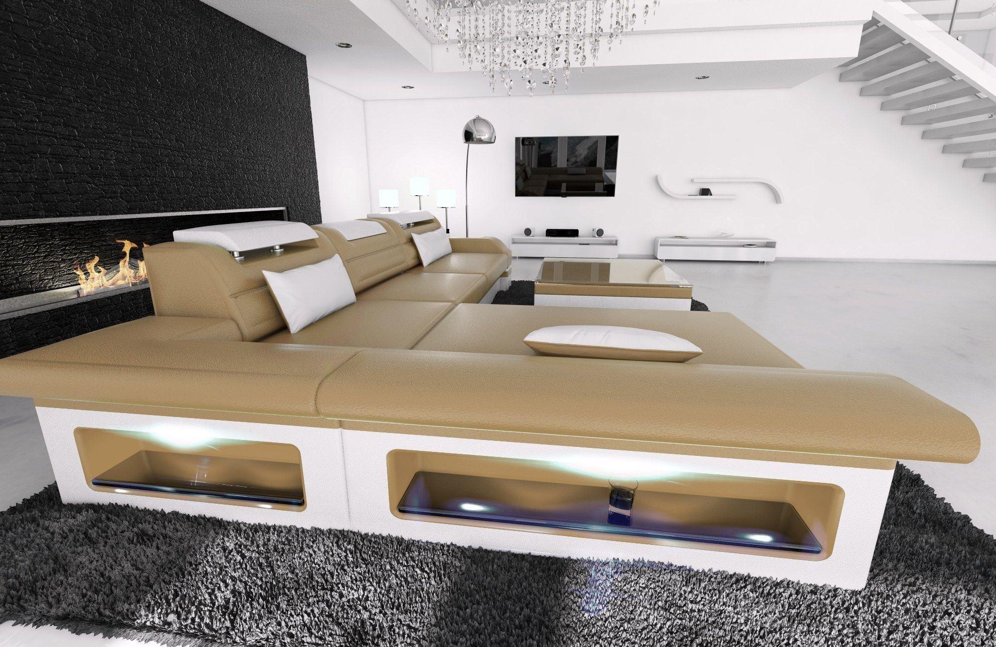 ledersofa monza l form sandbeige weiss. Black Bedroom Furniture Sets. Home Design Ideas