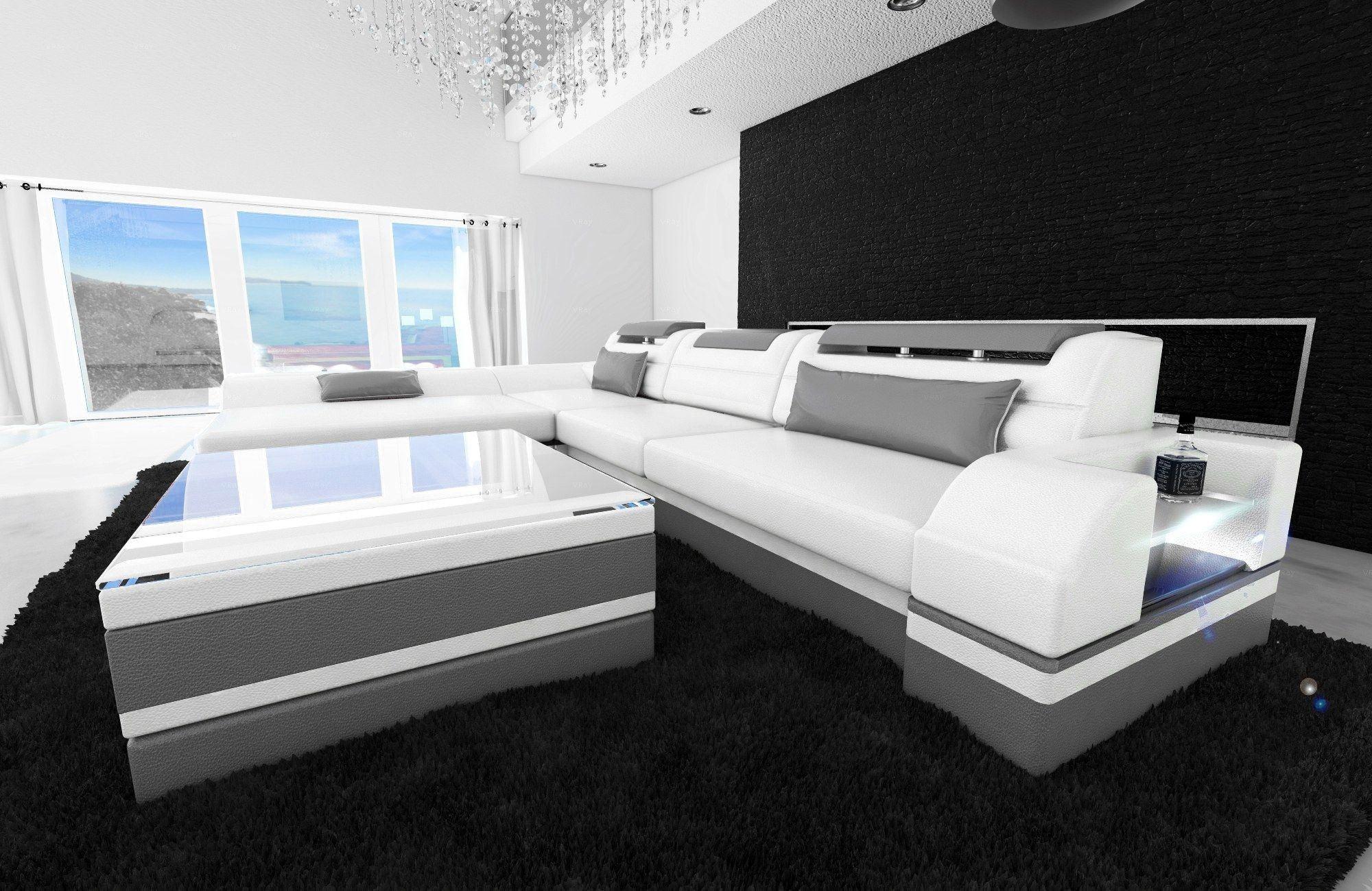 ledersofa monza l form weiss grau. Black Bedroom Furniture Sets. Home Design Ideas