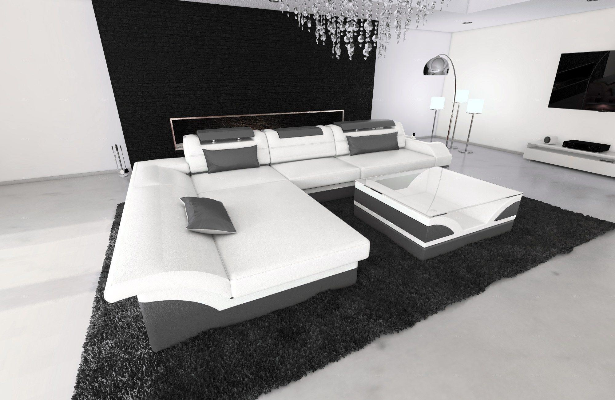 ledersofa monza l form weiss grau. Black Bedroom Furniture Sets. Home Design Ideas