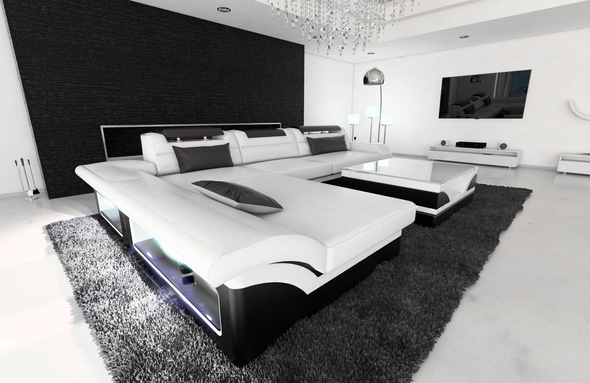 ledersofa monza l form weiss schwarz. Black Bedroom Furniture Sets. Home Design Ideas