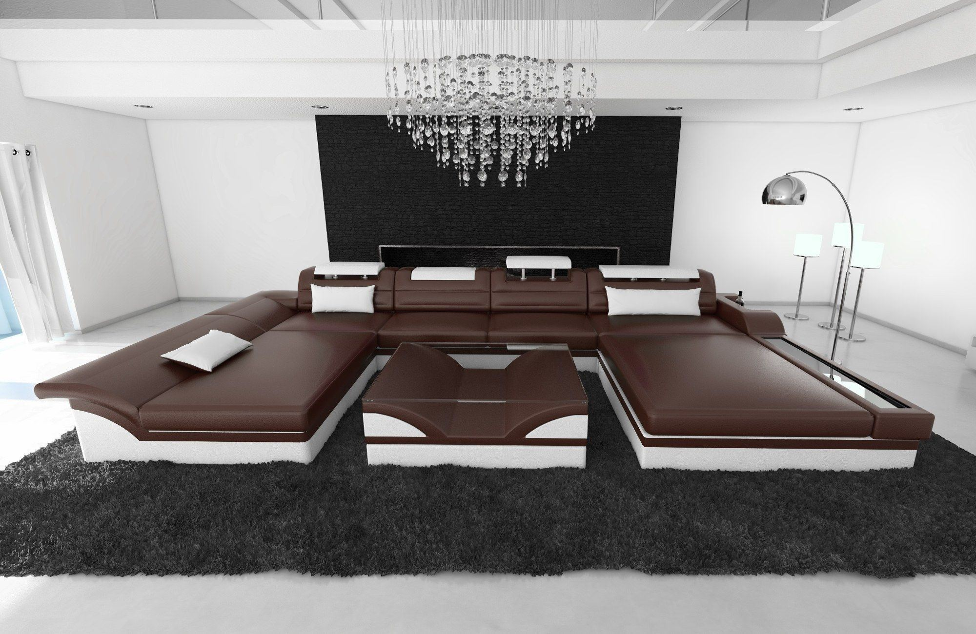 leder wohnlandschaft monza u form dunkelbraun weiss. Black Bedroom Furniture Sets. Home Design Ideas