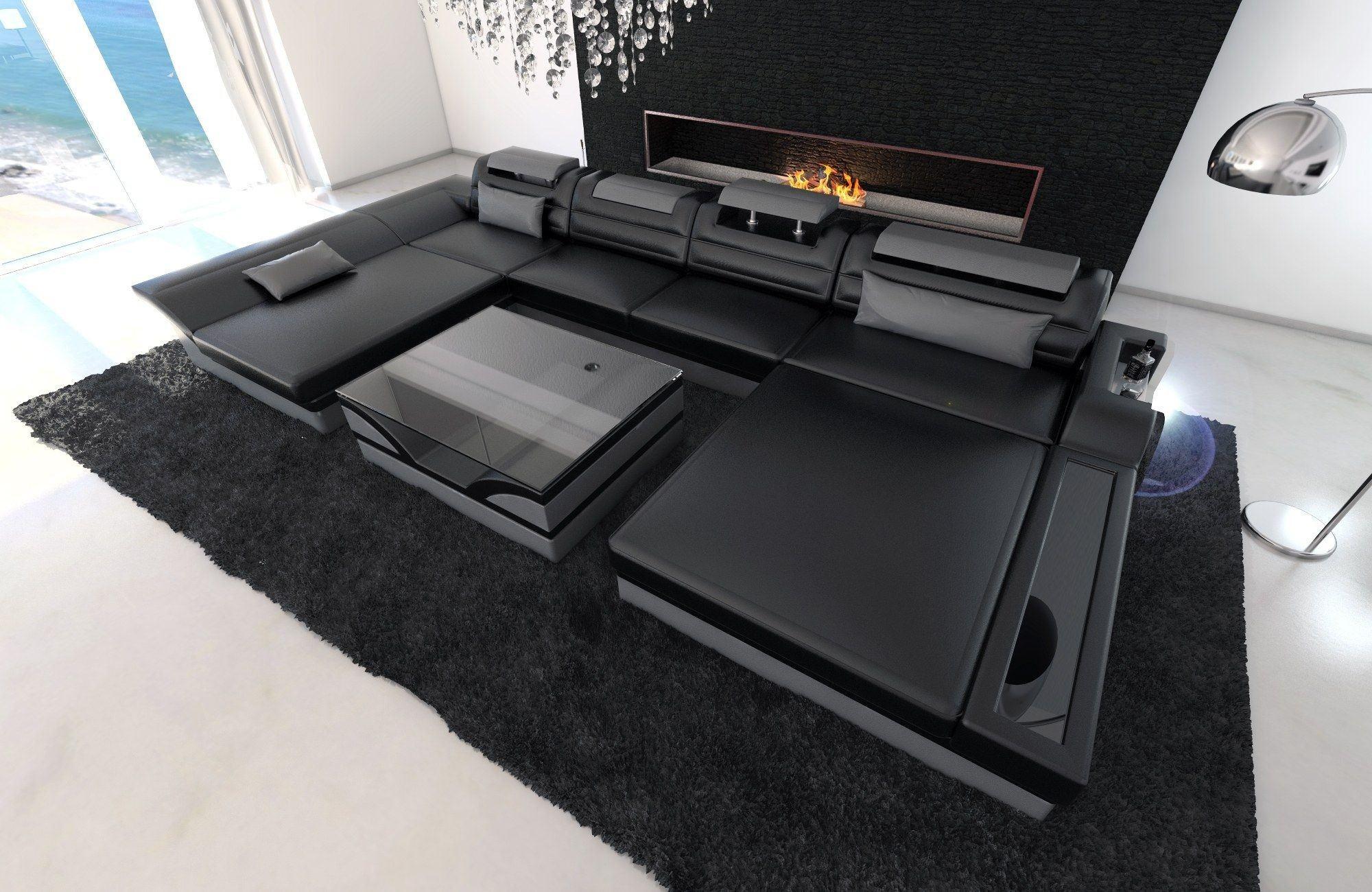 leder wohnlandschaft monza u form schwarz grau. Black Bedroom Furniture Sets. Home Design Ideas