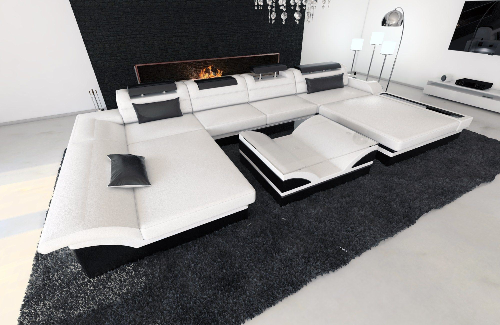 Leder Wohnlandschaft Monza U In Weiß Schwarz Sofa Mit Kopfstützen