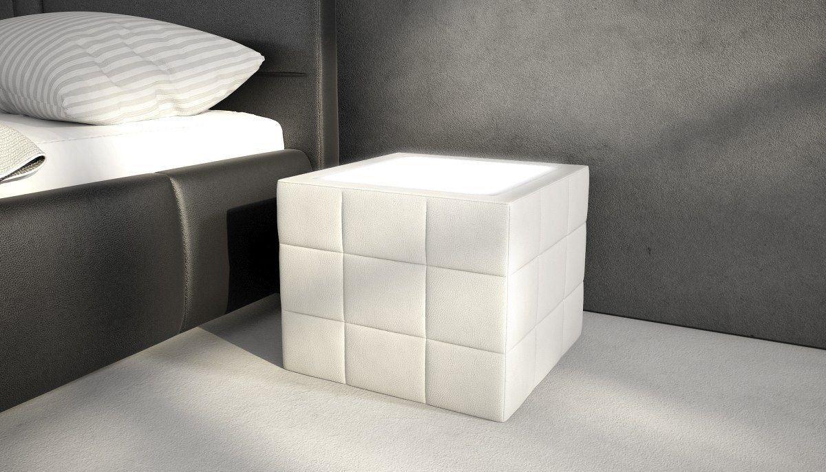 nachttisch night in leder mit led beleuchtung. Black Bedroom Furniture Sets. Home Design Ideas