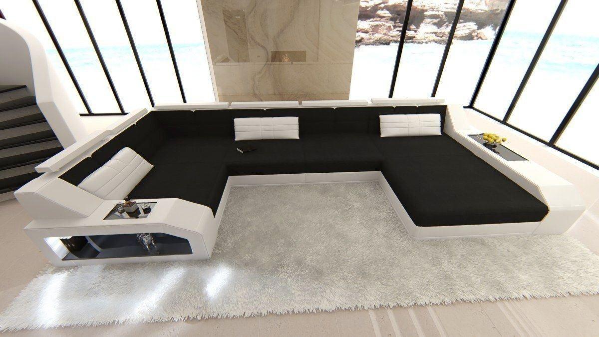 Wohnlandschaft Arezzo Als U Form In Stoff Mit Ausziehbaren Bett