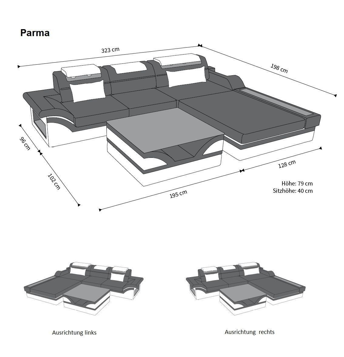 ledersofa parma l form schwarz braun. Black Bedroom Furniture Sets. Home Design Ideas