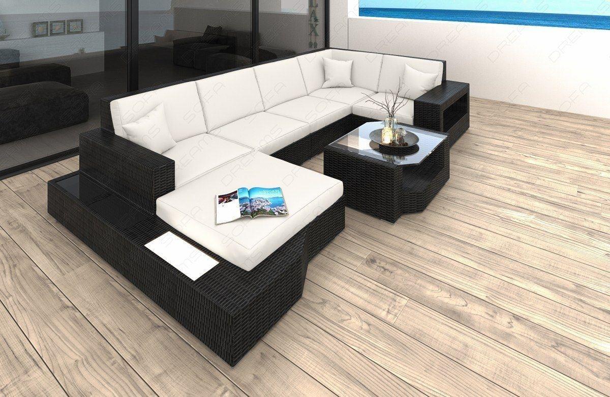 Rattan Sofa Messana U Form Hochwertige Garten Loungemöbel