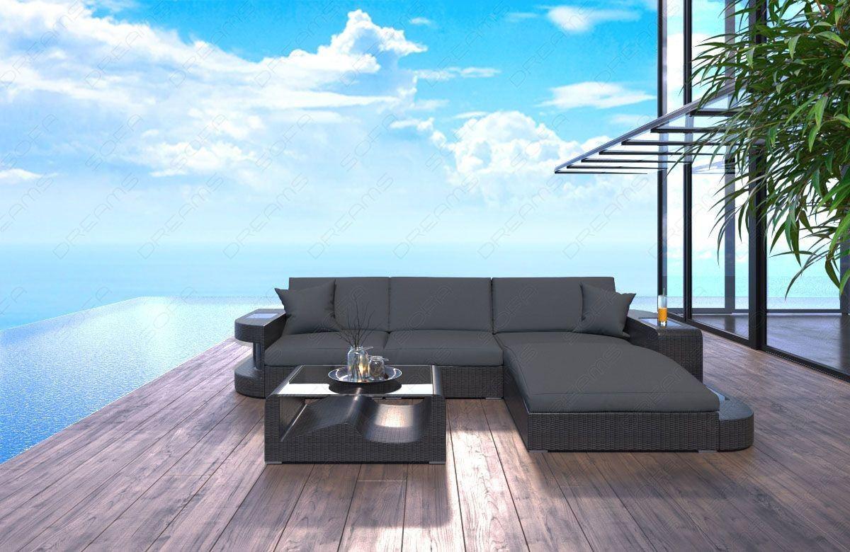Rattan sofa wave in der l form mit led beleuchtung for Rattan lounge sofa garten