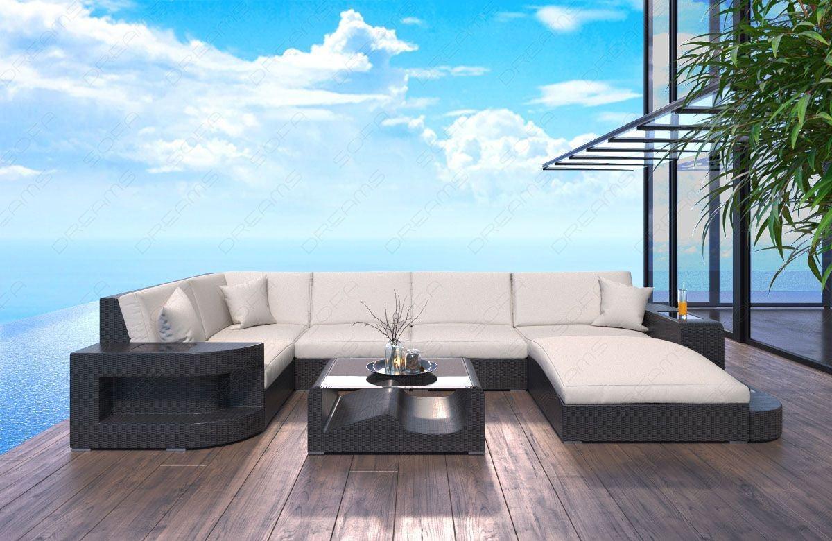 Rattan Sofa Wave In U Form Mit Beleuchtung Rattan Gartenmobel