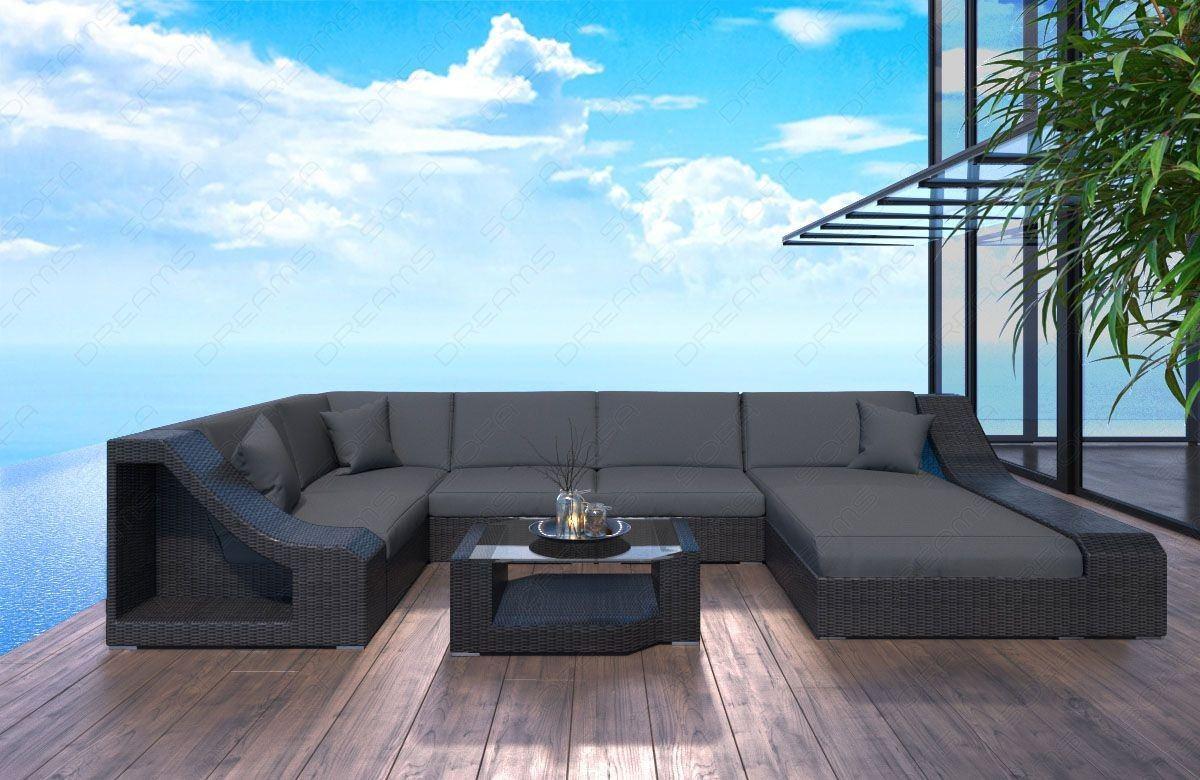Rattan Sofa Turino LED für Garten oder Terrasse