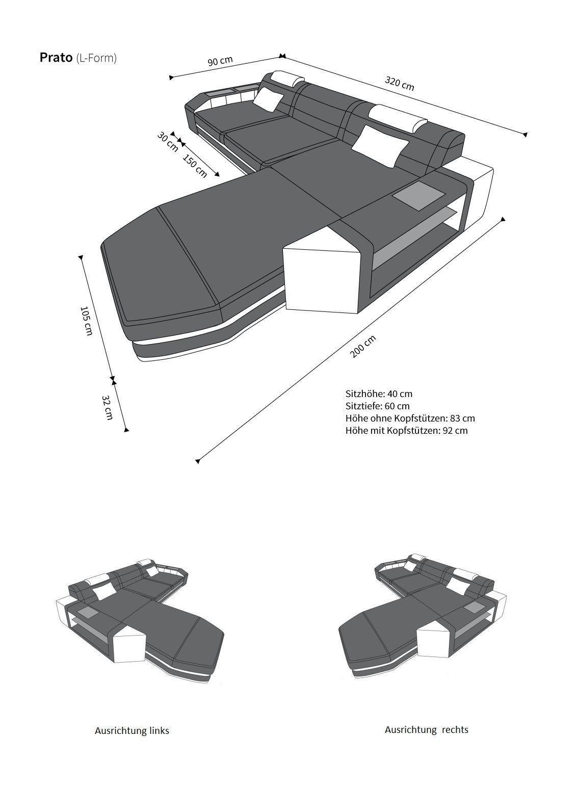ledersofa prato l form in grau wei sofa mit kopfst tzen. Black Bedroom Furniture Sets. Home Design Ideas